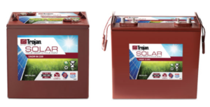 Front-facing views of Trojan Solar AGM batteries